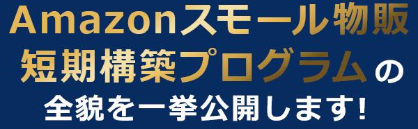 Amazonスモール物販  短期構築プログラムの 全貌を一挙公開します!